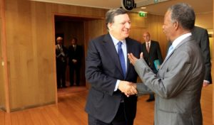 Sata Shakes hands with Sata with  Mr. Jose Manuel Barroso, President of the European Commission at Berlaymont Building in Brussels
