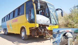 THREE people were seriously injured and admitted to the University Teaching Hospital in Lusaka when a Chembe Carriers bus hit into a Toyota Land-Cruiser at Kabangwe area in Lusaka around 19:00 hours on Sunday evening. Picture by KAIKO NAMUSA