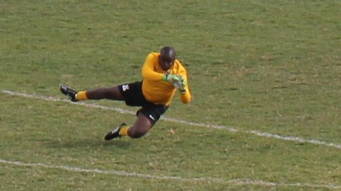 The substitute goalkeeper sent the crowd wild with his antics and he decided to warm-up on the pitch diving on his sides when the ball was in the other half before he conceded 4 goals