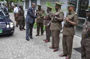 ZAMBIA PRISONS SERVICE COMMISSIONER PERCY K. CHATO GREETING TANZANIA PRISONS SERVICE SENIOR OFFICERS ON ARRIVAL AT THE TANZANIA PRISONS HEADQUARTERS.