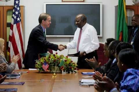 Alexander Chikwanda and the US Embassy Embassy Charge d'Affaires, David Young exchanged letters to signal the Entry into Force (EIF) of LWSSDP.