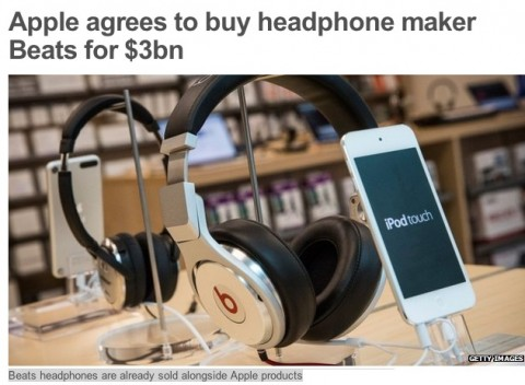 Beats headphones are sold along side iPods in an Apple store Beats headphones are already sold alongside Apple products