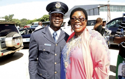 FORMER First Lady Vera Chiluba with her son Frederick Chiluba junior after a pass-out parade at Zambia Air Force base in Livingstone yesterday.- Picture by MACKSON WASAMUNU.