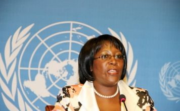 First Laady Dr Christine Kaseba addresses the Media at UN Building in Geneva, Switzerland