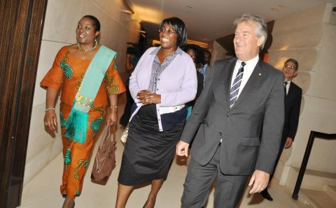 First Lady Dr Christine Kaseba (c) flanked by Zambia's Permanent Representative to the United Nations in Geneva Ambassador Encyla Sinjela and InterContinental -Geneva Director General Jurgen Baumhoff (r)