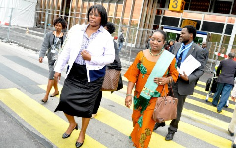 First Lady Dr Christine Kaseba flanked by Zambia's Permanent Representative to the United Nations in Geneva Ambassador Encyla Sinjela (r) on arrival at Geneva Airport for the World Health Assembly