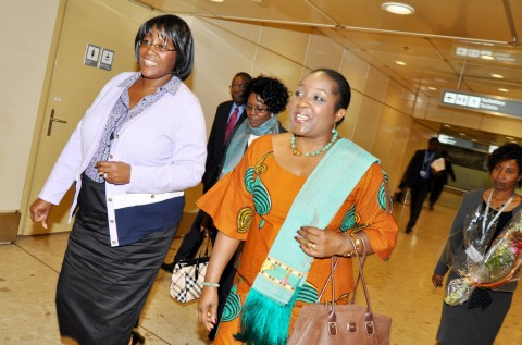 First Lady Dr Christine Kaseba flanked by Zambia's Permanent Representative to the United Nations in Geneva Ambassador Encyla Sinjela