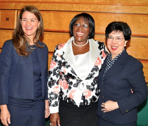 Melinda Gates (l) with WHO Director-General Margaret Chan (r) and First Lady Dr Christine Kaseba shortly before delivering their key note address to the World Health Assembly