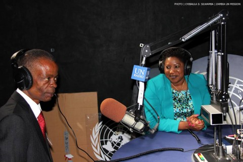 Minister of Information and Broadcasting Services Joseph Katema and acting chief of UN Radio Flora Nducha in the studio at UN Secretariatin New York on 30th April, 2014. PHOTO | CHIBAULA D. SILWAMBA | ZAMBIA UN MISSION