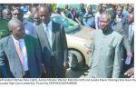 President Michael Sata (right), Justice Minister Wynter Kabimba (left) and Lusaka Mayor Mulenga Sata leave the Lusaka High Court yesterday. Picture by STEPHEN KAPAMBWE