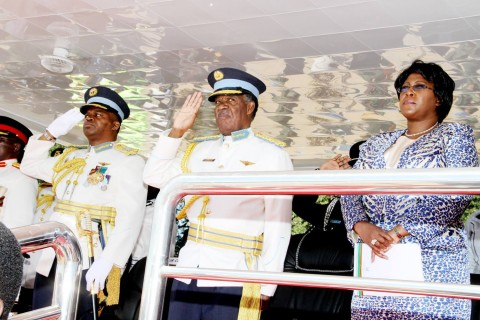 President Michael Sata with First Lady Dr Christine Kaseba and ZAF commander Lt Gen Eric Chimese during the Zambia Air Force commissioning parade in Livingstone on May 9,2014 - Picture courtesy of State House Press Office.