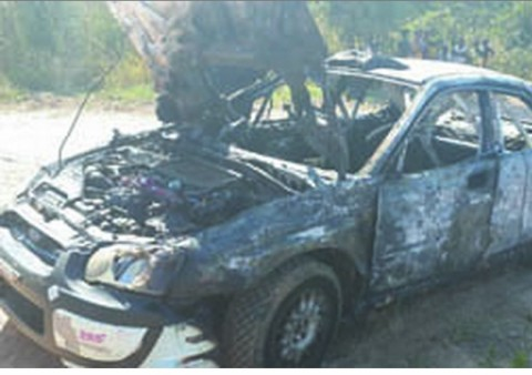 REMAINS of Jassy Singh's Subaru Impreza N10 that was engulfed in flames in Chisamba after developing an electric fault lusakavoice.com