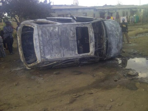 Rodgers Mumba ‏@mumslee2 This is the Remains of Toyota Harrier belonging to Big Ben of #comesa burnt in #chibolya #Zambia .