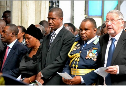 Vice-President Guy Scott (right), Zambia Air Force Commander Lieutenant General Erick Chimese, Defence Minister Edgar Lungu, Ministry of Defence PS Rosemary Salukatula and Justice Minister Wynter Kabimba (left) - by STEPHEN KAPAMBWE