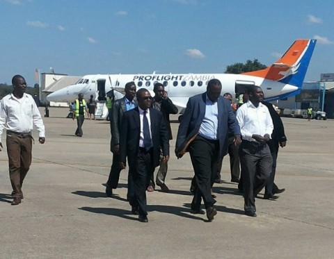 Wynter M. Kabimba, ODS, SC Upon arrival at Simon Mwansa Kapwepwe International Airport in Ndola