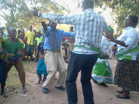 Yaluma and Mungwi DC Joyce Chanda joins residents of Mukuka- mfumu in a dance to welcome their MP