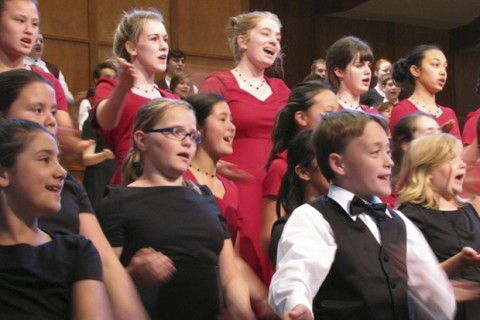 All three Rainier Youth Choirs performed the Zambian song, Bonse Aba, during their June 1 Time and Travel concert. - Courtesy photo:Kathy Gendreau