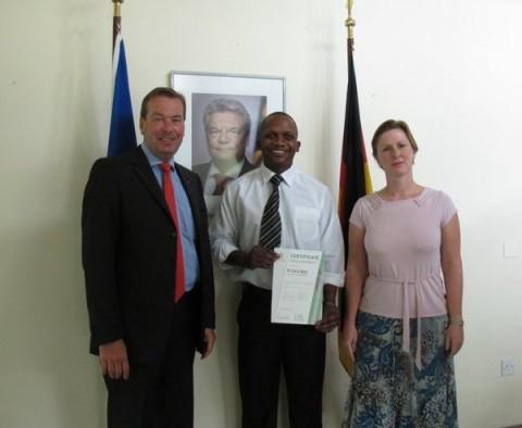 Ambassador Bernd Finke with Charles Bwale and German colleague Ute Maaß