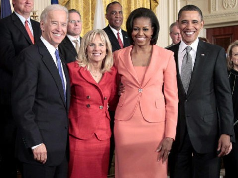 President Barack Obama and wife first lady Michelle Obama, with Vice President Joe Biden and his wife Dr. Jill Biden
