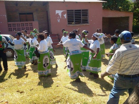 SIGNING AND DANCING, ANTI KABIMBA SONG AT THEIR PF OFFICE — in Kasama, Zambia.