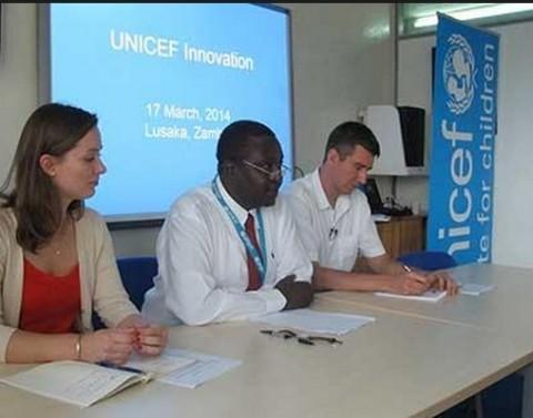 UNICEF Zambia Representative Dr Hamid El-Bashir (centre), announcing UNICEF's 15th Innovation Laboratory