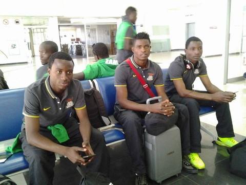 Waiting to board- Chipolopolo players, Lubambo Musonda, Toaster Nsabata and Joshua Titima waiting to board thier flight to Florida via South Africa