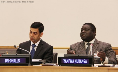 Minister of Transport, Works, Supply and Communications Yamfwa Mukanga and UN Under-Secretary-General Mr Gyan Chandra Acharya (left) during a side-event at the UN in New York on 12 June, 2014. PHOTO | CHIBAULA D. SILWAMBA | ZAMBIA UN MISSION