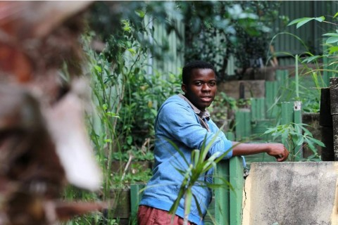 Year 12 student at Cedars College Jean Marc Bukasa grows African fruit and vegetables for the migrant community. Picture- ORLANDO CHIODO
