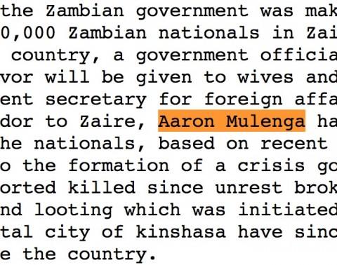 late Zambian ambassador to Zaire, Aaron Mulenga