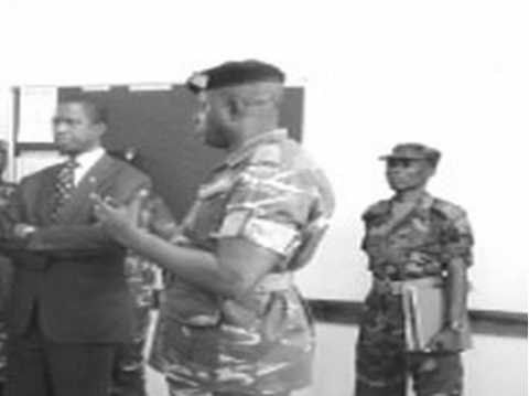 •Major Namiluko explaining to Defence Minister Edgar Lungu some of the skills given to students enrolled at the Millitary Training Establishment of Zambia (MILTEZ) in Kabwe