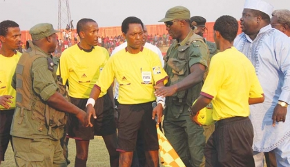 Ethiopian referee Bamlak Weyesa during Saturday's Confederation Cup match between Nkana and Etoile du Sahel of Tunisia.