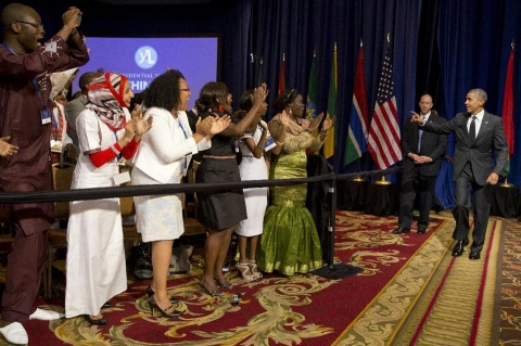 President Barack Obama arrives at a town hall during the Summit of the Washington Fellowship for Young African Leaders, Monday, July 28, 2014, in Washington