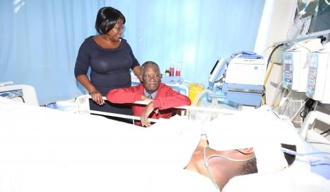 Sata in South Africa visiting his son Kazimu at Milpark Hospital