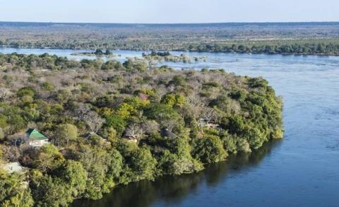 The River Club blends into the bush along the Zambezi upstream of Victoria Falls