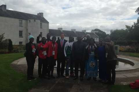 Blantyre MP Tom Greatrex with Commonwealth Games athletes from Team Malawi at the David Livingstone Centre