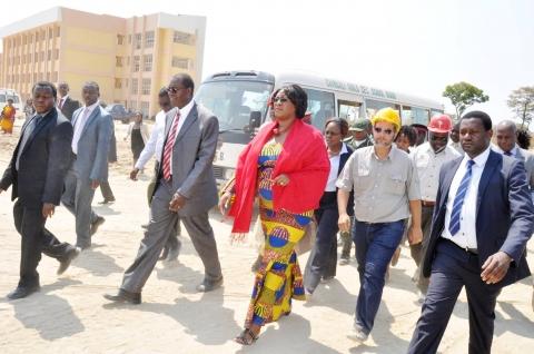 First Lady Dr Christine Kaseba with Muchinga Province Permanent Secretary Bwalya Ng'andu and Sports deputy minister Christopher Mulenga -Chiponde during an educational tour of Robert Makasa University