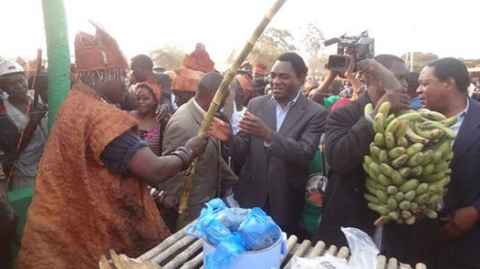 HH enjoying the Ubwilile Traditional Ceremony of the Bwile People of Chiengi District in Luapula Province.