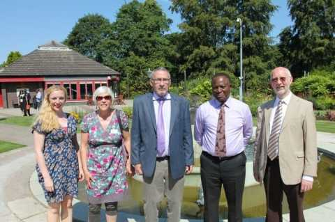 David Livingstone Centre Learning Officer Martha Burns Findlay, National Trust for Scotland Trustee Jill Carrick, Vice-President Dr. Guy Scott, the High Commissioner for Zambia in the UK His Excellency Paul Lumbi, and David Livingstone Memorial Trustee Douglas Hay.
