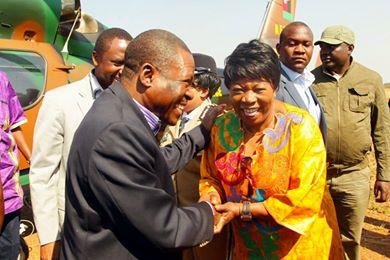 Mr Kabimba with Hon. Susan Kawandami in Kaoma for the Kazanga ceremony