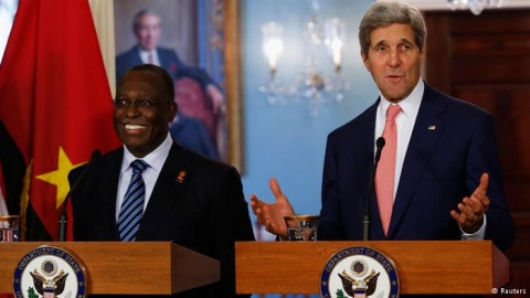 Secretary of State John Kerry receives Angola Vice President Manuel Vicente at the State Department in Washington