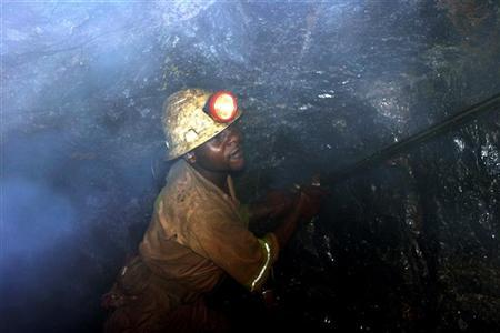 Bright Mutambo, of Konkola Copper Mines PLC, works in Nchanga mine in Chingola, Zambia.