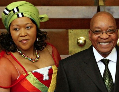 Jacob Zuma with his wife Tobeka Madiba. Photograph- Mike Hutchings:AP