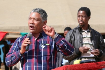 Kabwata Member of Parliament Given Lubinda who is part of the campaign team with PF SG Edger Lungu in Mkushi South to drum up support for the Patriotic Front Candidate Davies Chisopa, Picture by Eddie Mwanaleza:Statehouse 06-o9-2014