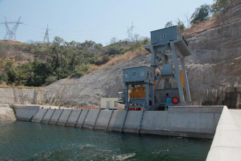 hoto shows the inlet of the dam of Kariba hydropower station in Zambia. The constructor China's Sinohydro Corporation delivered the Zambian Kariba North Bank Power expansion project to Zambia in Siavonga, southern Zambia. The project includes two 180 megawatt generators. XINHUA PHOTO: PENG LIJUN