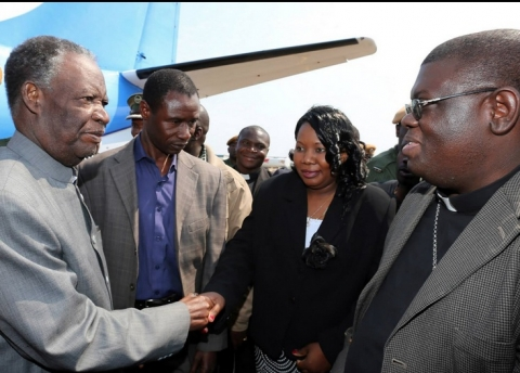 President Sata with Catholic Diocese of Solwezi Bishop Kasonde on arrival in Solwezi to drum up support for PF parliamentary candidate Newton Malwa on September 10,2014