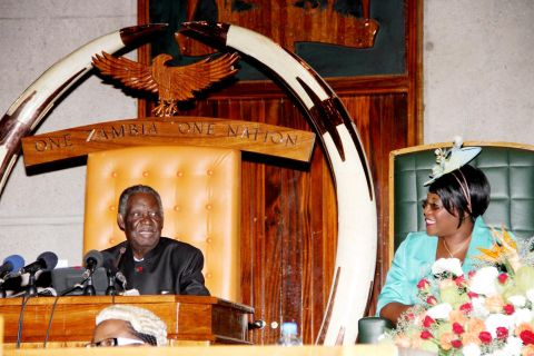 President Sata with Dr Kaseba during the opening of parliament on September 19, 2014 -Picture by THOMAS NSAMA