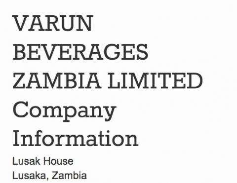 ZEMA issues ultimatum against Varun Beverages | Lusaka Voice