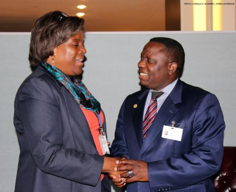 Zambia's Foreign Affairs Minister Harry Kalaba and US Assistant Secretary of State for African Affairs Linda Thomas-Greenfield at UN Headquarters 26-09-2014. PHOTO | CHIBAULA D. SILWAMBA | ZAMBIA UN MISSION