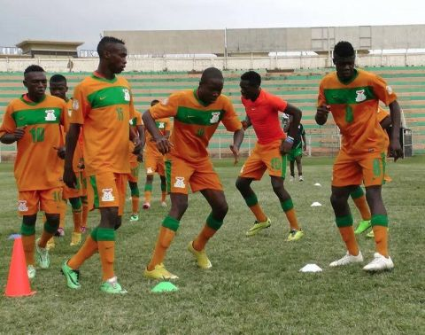 Zambia Under Seventeen players dancing after beating hosts Uganda by two goals to one this afternoon. , the junior Chipolopolo have qualified via a 4-1 goal aggregate after having won two nil at home two weeks.
