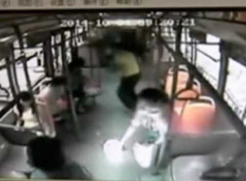 A mobile phone explodes and catches fire on a bus in China.